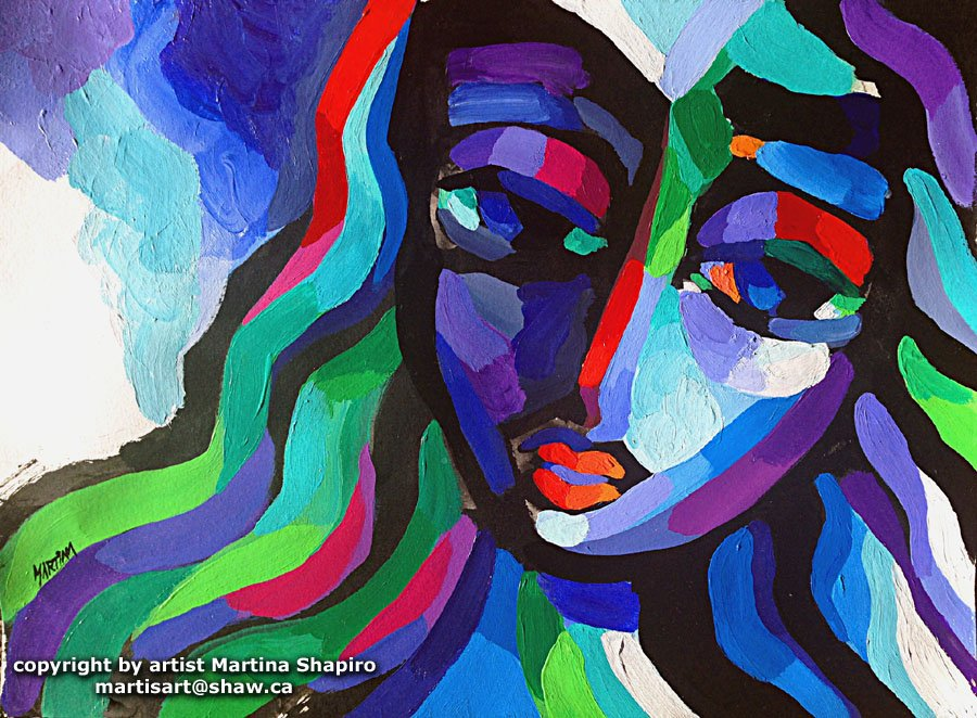 Purple and Blue Girl painting abstract portrait by Martina Shapiro