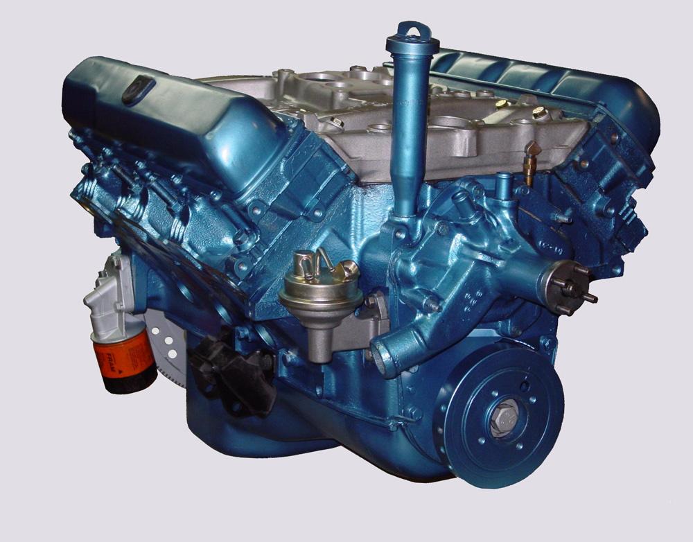 Blue Oldsmobile Engine
