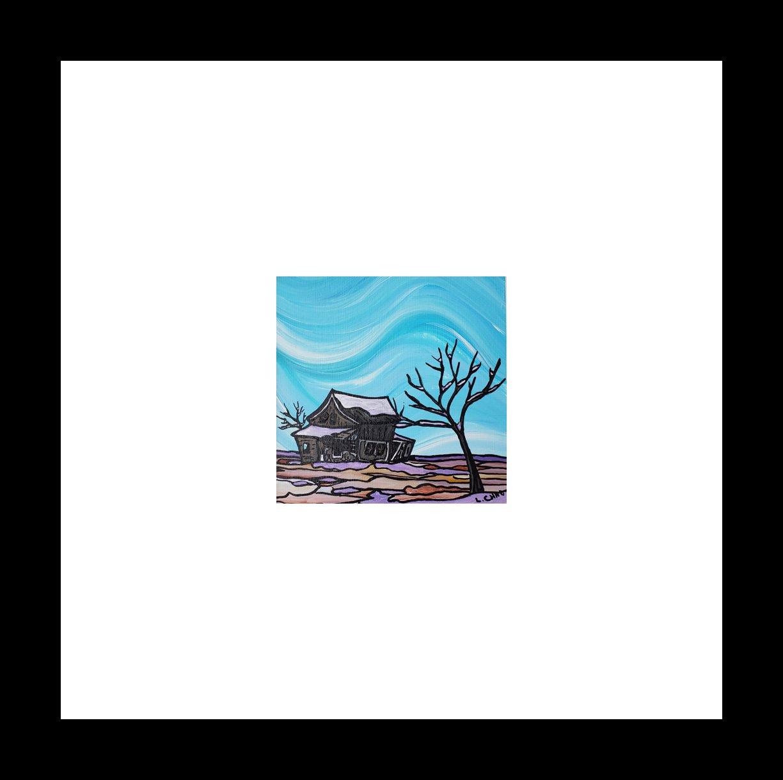"2019-20 ""Prairie South Homestead"" Image: 5"" x 5"" Framed: 12"" x 12"" Acrylic on 246 lb paper $125.00"