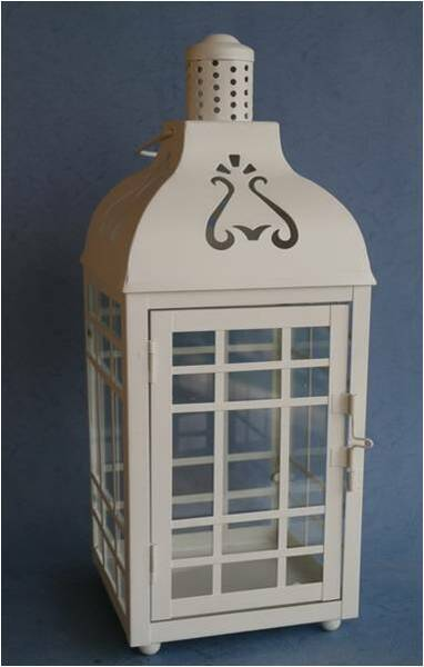 """CL112S16 White metal & glass lantern 6""""x6""""x16""""H *can use as a basket too"""
