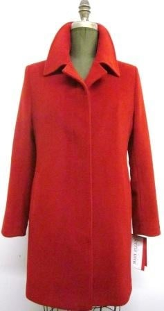 Style #SJ9112 Ruby Red - 50% Cashmere  Features: This coat features a fly front  that gives it  a sleek look.  Classy details on the sleeves.  Car Coat length. Includes extra buttons.  Chamois lined for warmth.  In-Stock Colours:. Navy, Red, Black, Port, Cognac or can be custom made in any colour or fabric.  Made From Fabrics Imported From Italy and Other  European Countries: Cashmere and Cashmere/Wool Blends,  100% Pure Virgin Wool and  other fine fabrics   Size:  S,M,L  Price:$ 499 and up