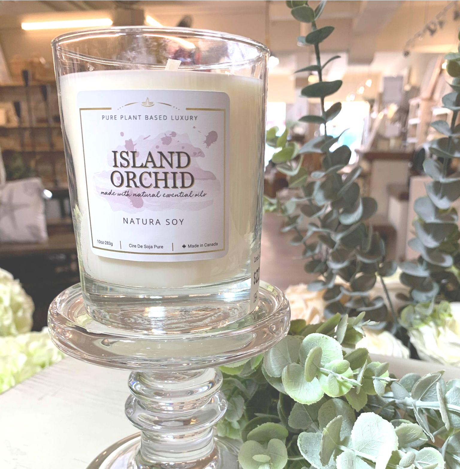 Island Orchid Delightfully tropical citrus notes of bergamot and pomelo along with soft orange blossom and rose finish with a dry down of sweet, slightly spicy floral notes of ylang and tuberose.