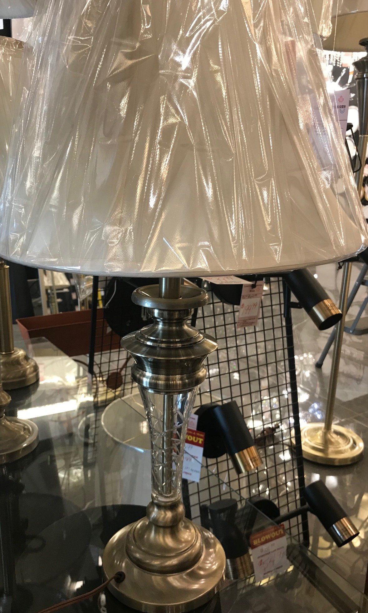 40337 Crystal Table Lamp Made in Canada Available in Antique Brass or Brushed Chrome Regular Price $279.99 Sale Price $195.99