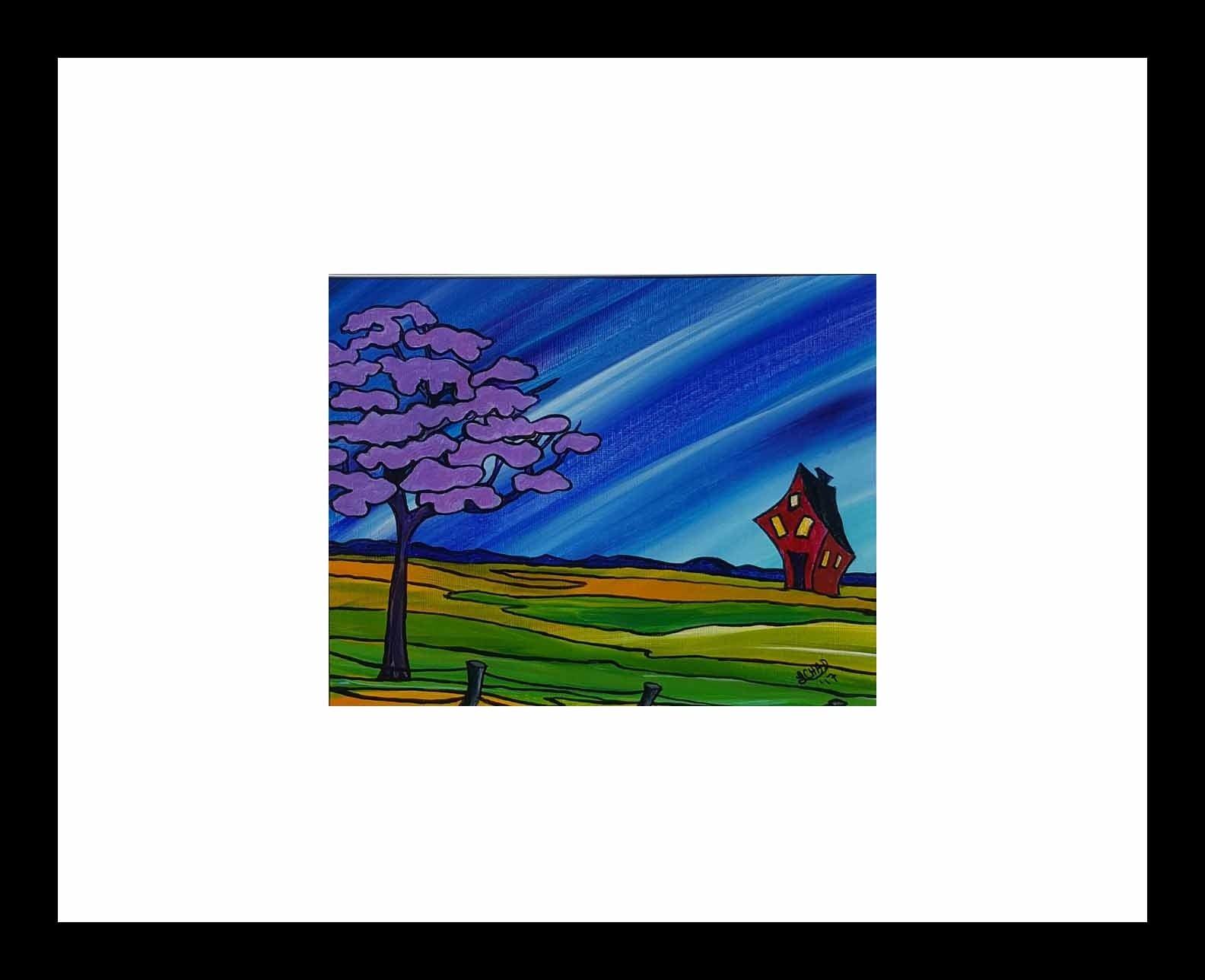 """Happy Trails"" [2017] Image 9.75"" x 7.75"" Framed 20"" x 20"" Acrylic on 246 lb. paper $175.00"