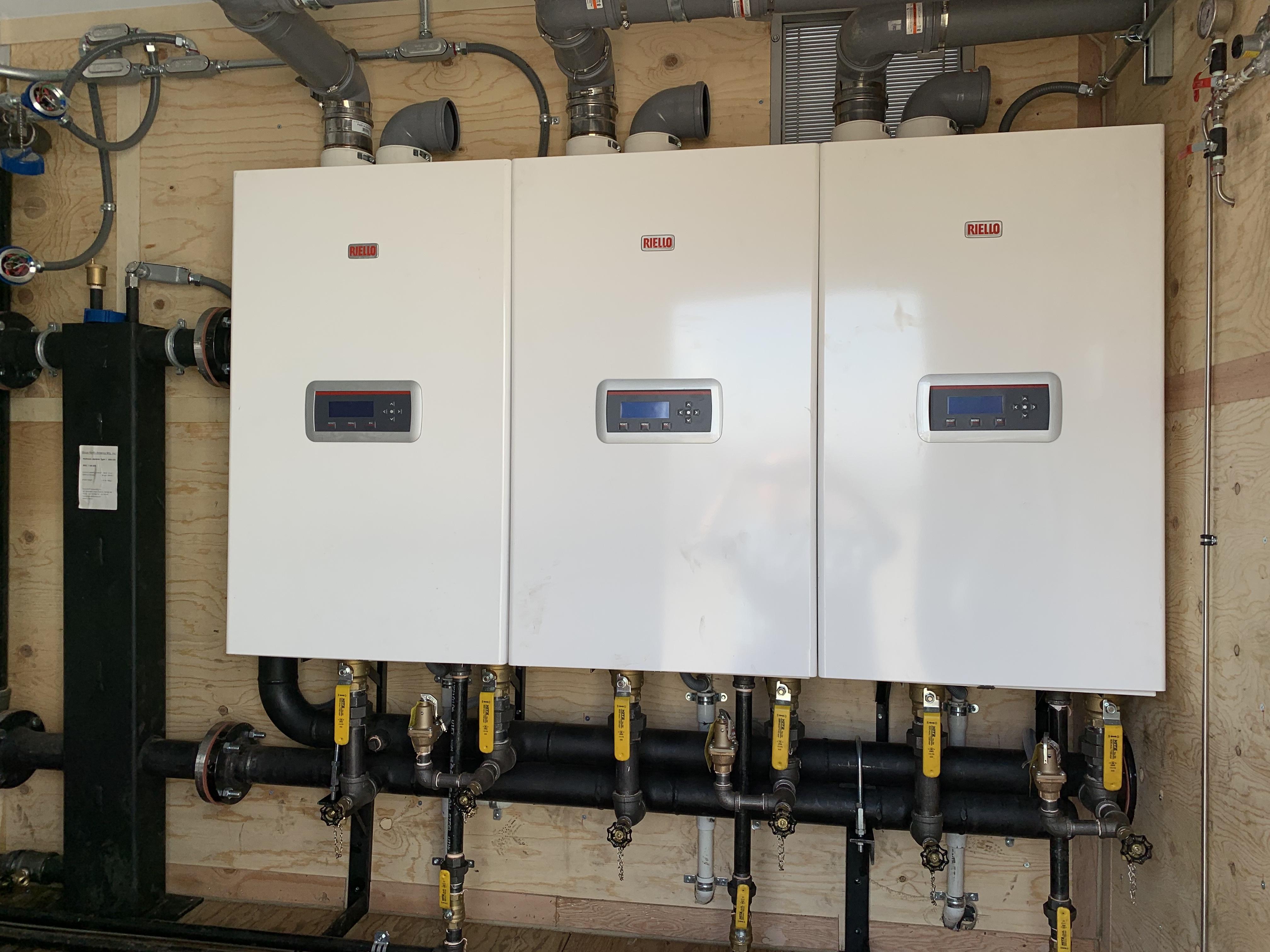 Riello Condexa PRO- 399,000Btu Wall Hung Boiler cascade, 1,200,000 Btu Boiler Plant with 30:1 Turndown