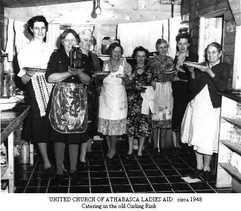 United Church Ladies catering in old curling rink, Circa 1948