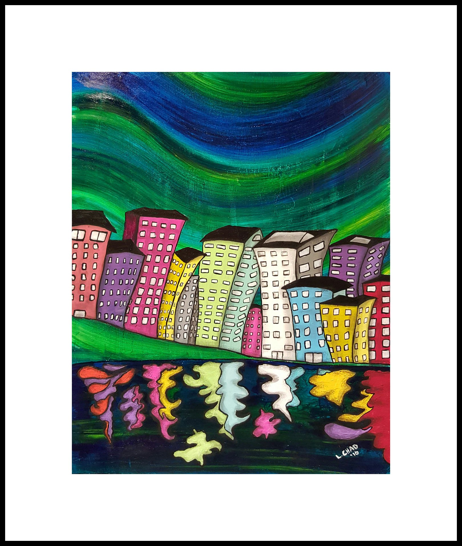 """My City"" [2016] (Award Winning) Image 15.5"" x 19"" Framed 23.5"" x 27.5"" Mixed Media on canvas board SOLD"