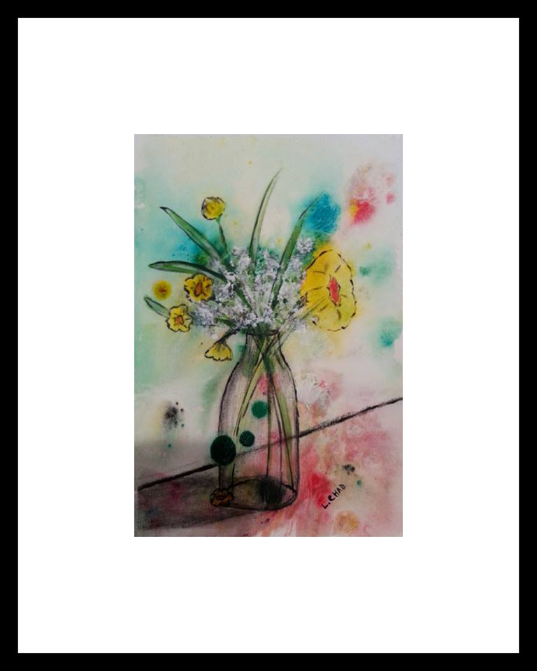 """Yellow Flowers"" [2015] Mixed Media on paper 6"" x 9"" (image), 20.5"" x 28"" (framed) SOLD"