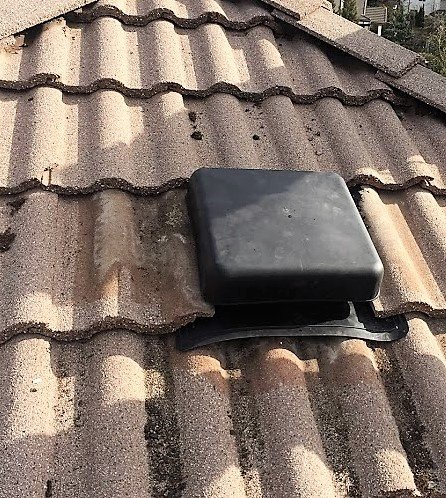 install proper roof vent on tile roof