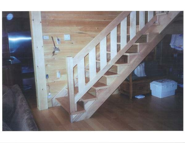 Straight maple stairs