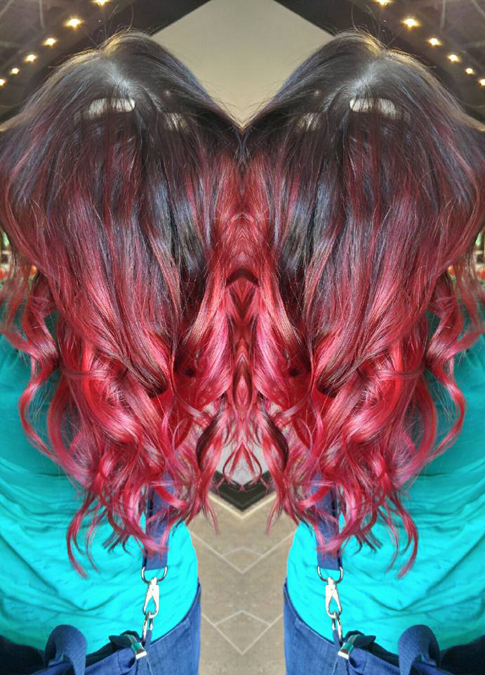 Hair with Bright Red Highlights