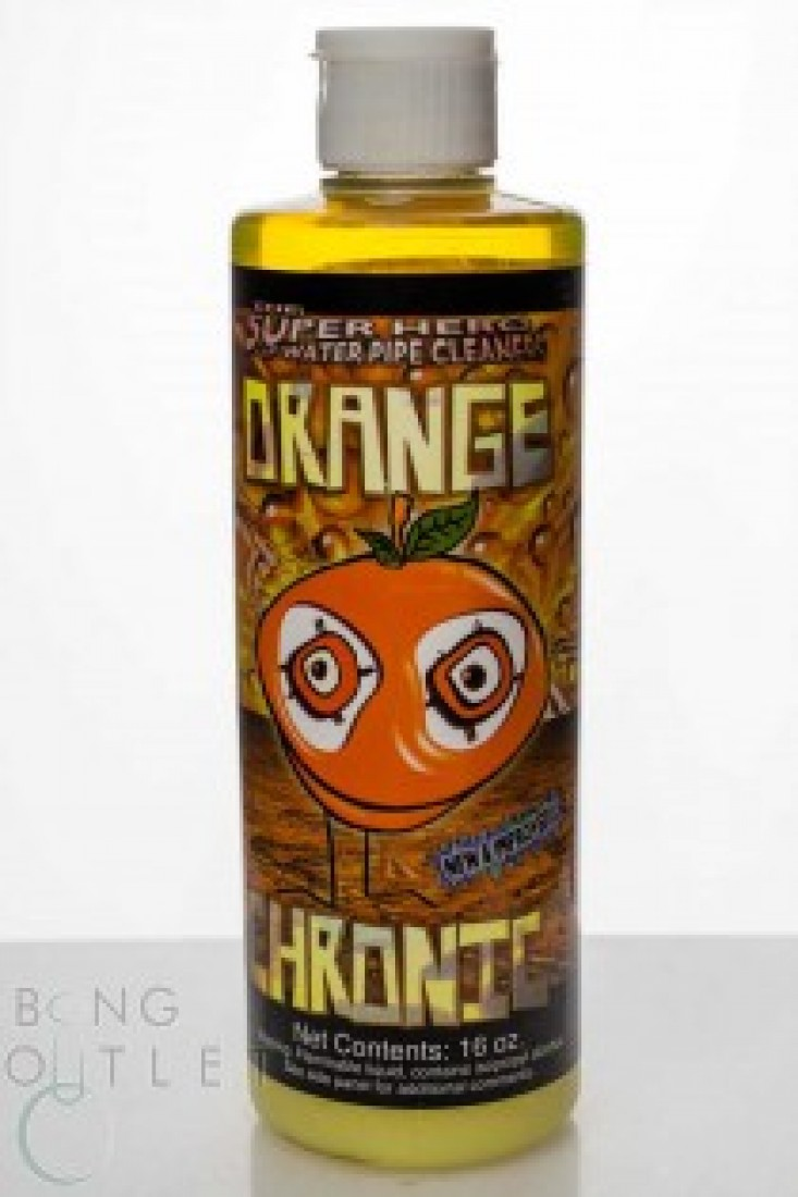 Orange Chronic 16 oz SKU:1502  Orange Chronic Cleaner is the leading solution for all your glass bong cleaning needs. Orange Chronic line is proven to be fast and effective, offering Immediate Results for bong cleaning! Earth Friendly and easy to use.