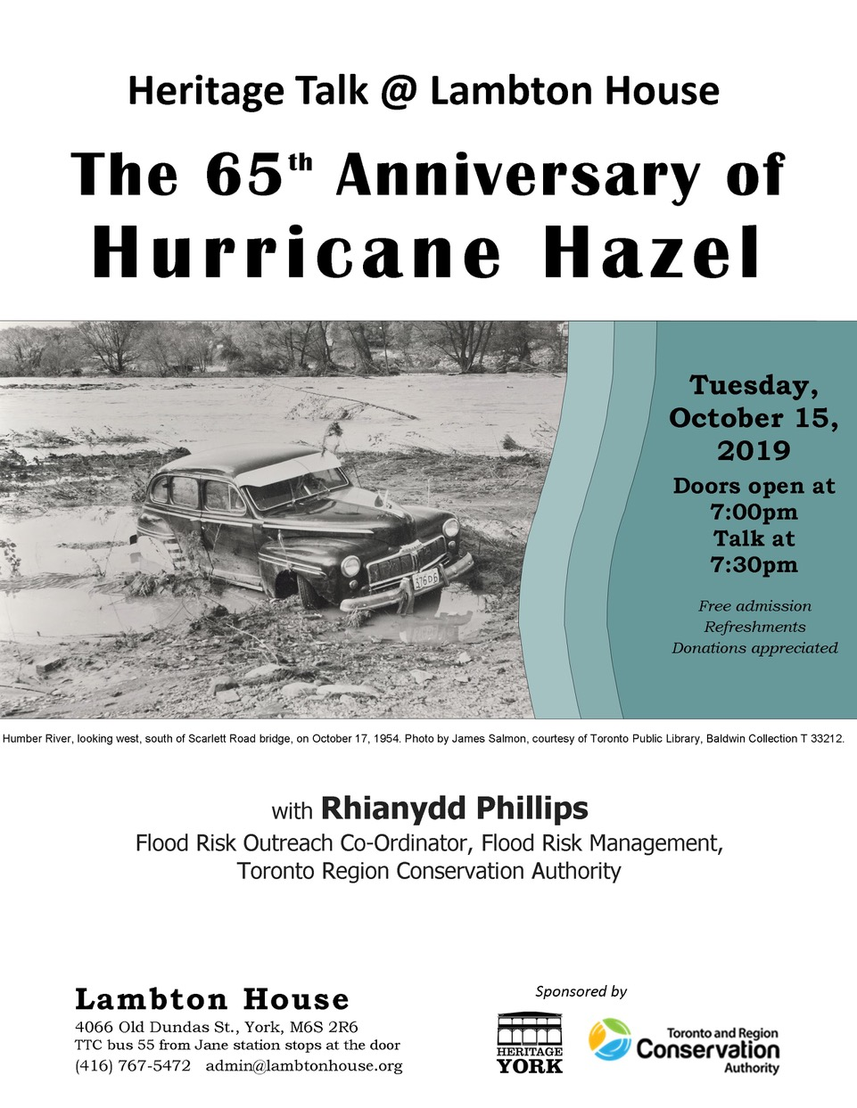 Poster for Hurricane Hazel talk October, 15, 2019
