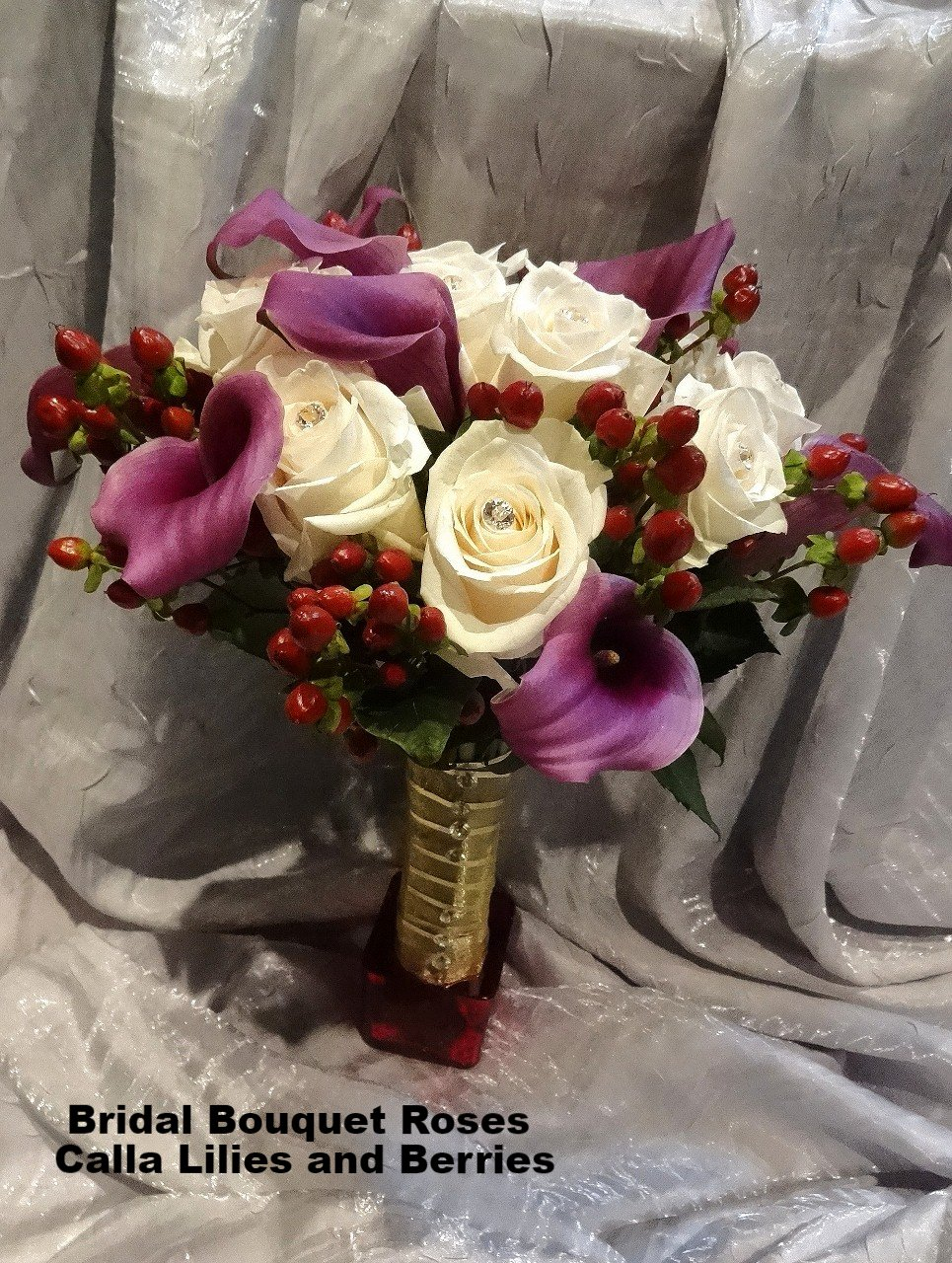 Bridal Bouquet Roses /Calla Lilies /Berries