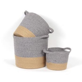 "Blue Heather Jute Basket Small $19.99 Medium $24.99 Large 13""d x 12""h  $29.99"