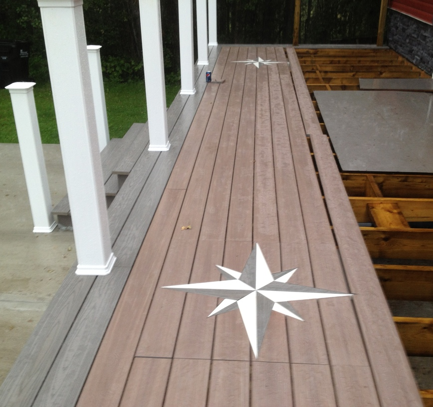 Composite deck with custom inlay designs