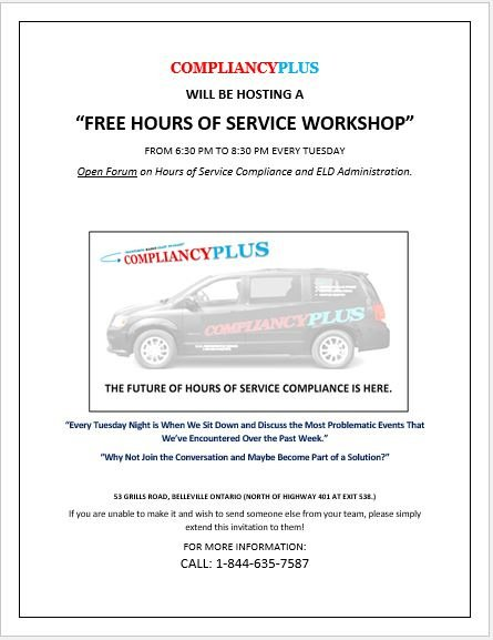 Hours of Service Workshop Every Tuesday Night!