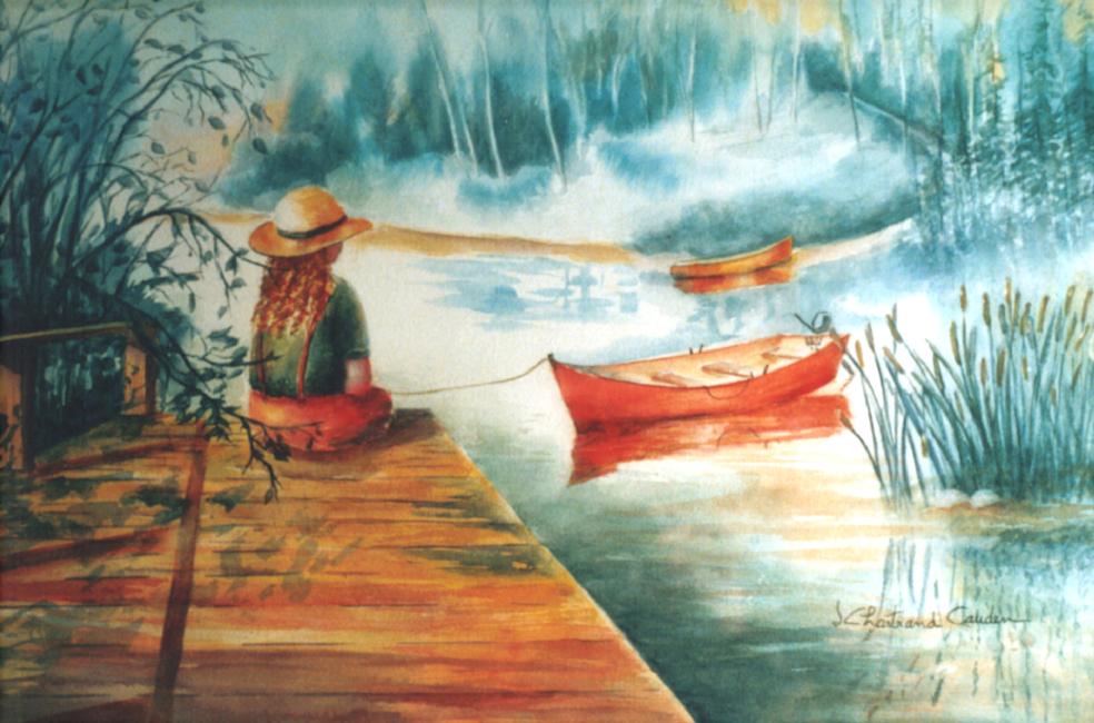 """Au bord du Lac Aquarelle 15"""" x 22"""""""