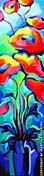 """SOLD to AB, Canada """"Abstract Poppies"""" original painting  in acrylic on canvas 12 x 48 inches"""