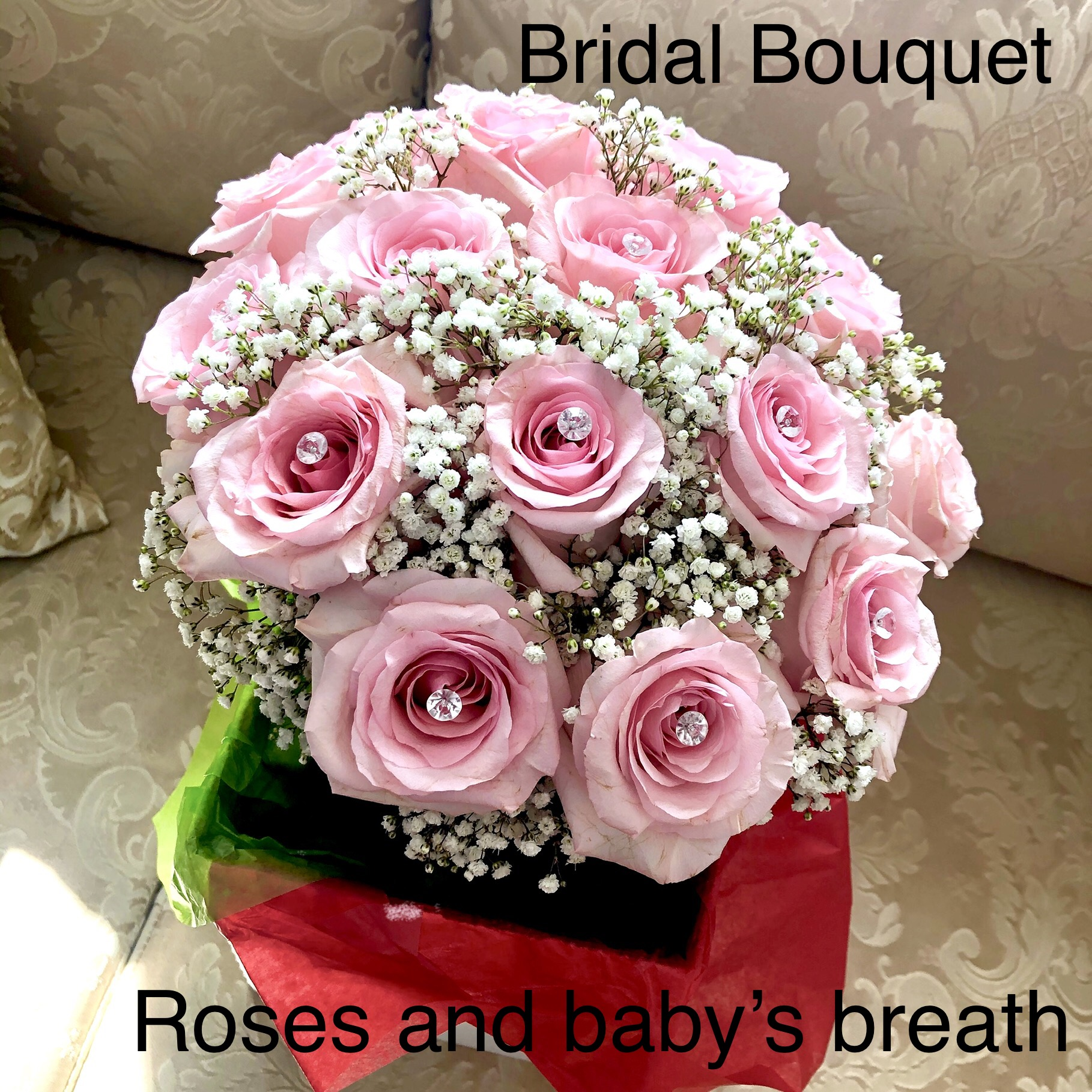 Bridal Bouquet Roses and Babies Breath