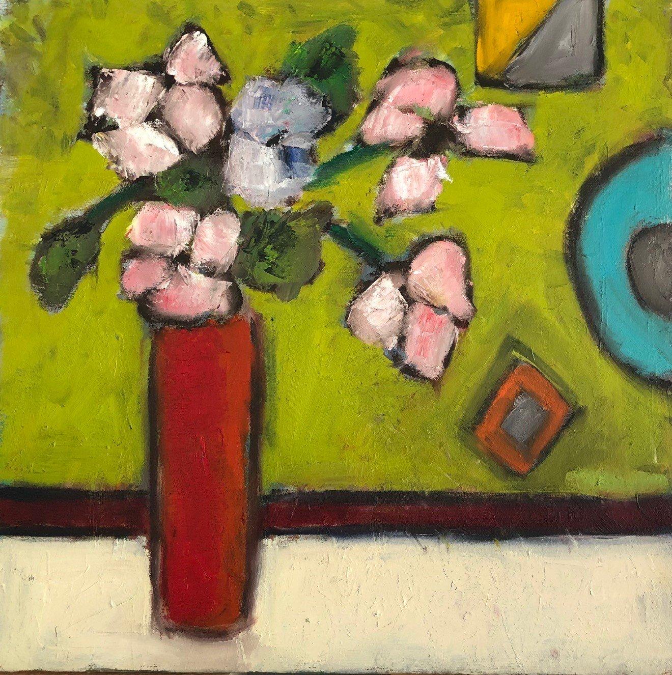"Geometric Background 16"" x 16"", Oil on canvas $300"