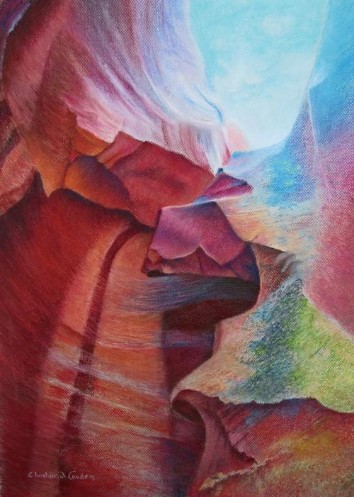 """Antelope canyon Pastel 24"""" x 18"""""""