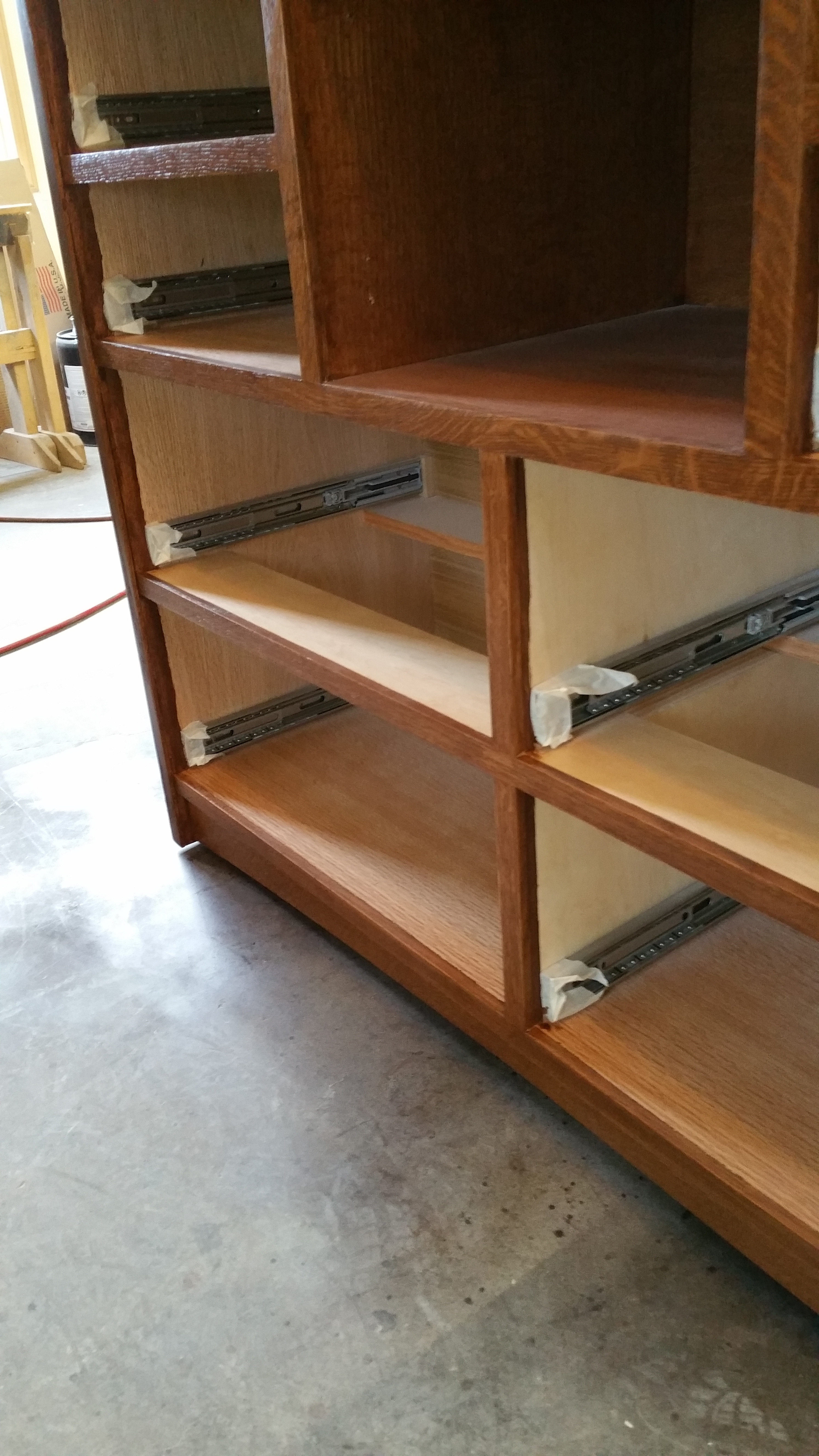 Construction photo showing drawer slides