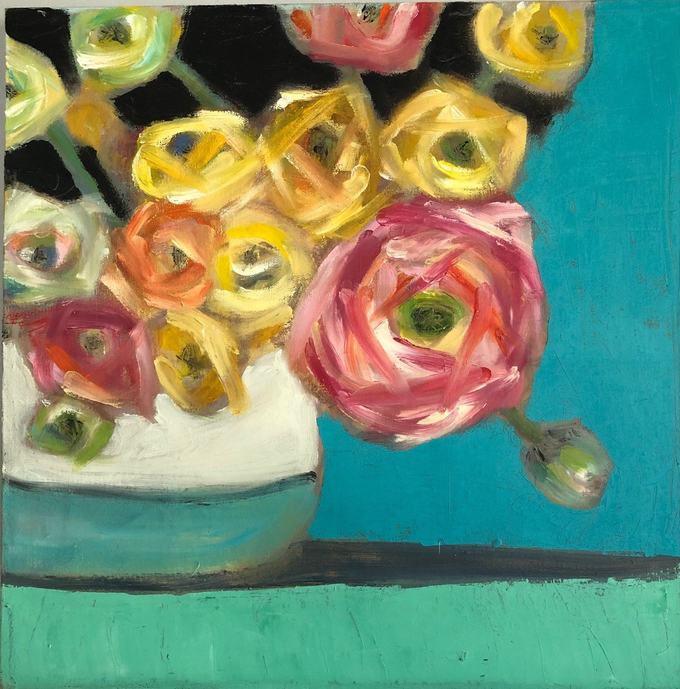"Ranunculus 1, 16"" x 16"", Oil on canvas SOLD"