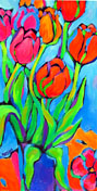 """<b>SOLD to FL, USA.<br> """"Spring Tulips On Blue""""<br> original oil on canvas painting</b><br> 12x24 inches"""