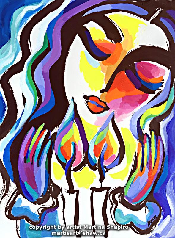 Woman Blessing Candles, Shabbat painting by artist Martina Shapiro
