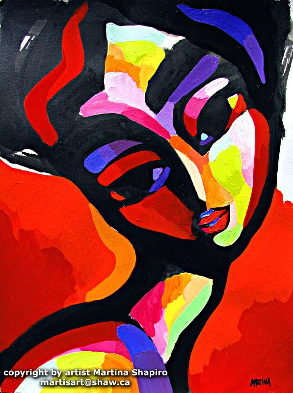 Woman on Red abstract portrait painting by Martina Shapiro