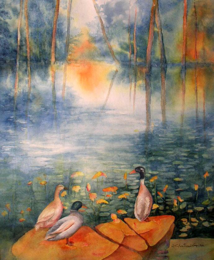 """Visite à l'étang Aquarelle 17"""" x 14"""""""