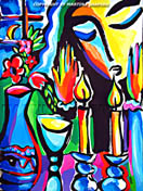 Expression of Shabbat original contemporary Jewish fine art by artist Martina Shapiro