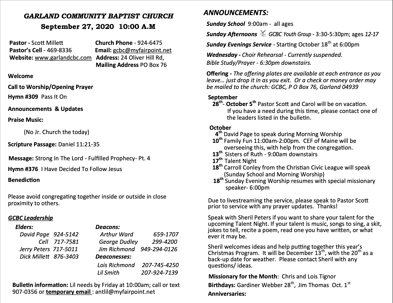 Bulletin Contents 06-28-2020
