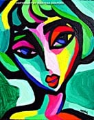 abstract green girl original painting