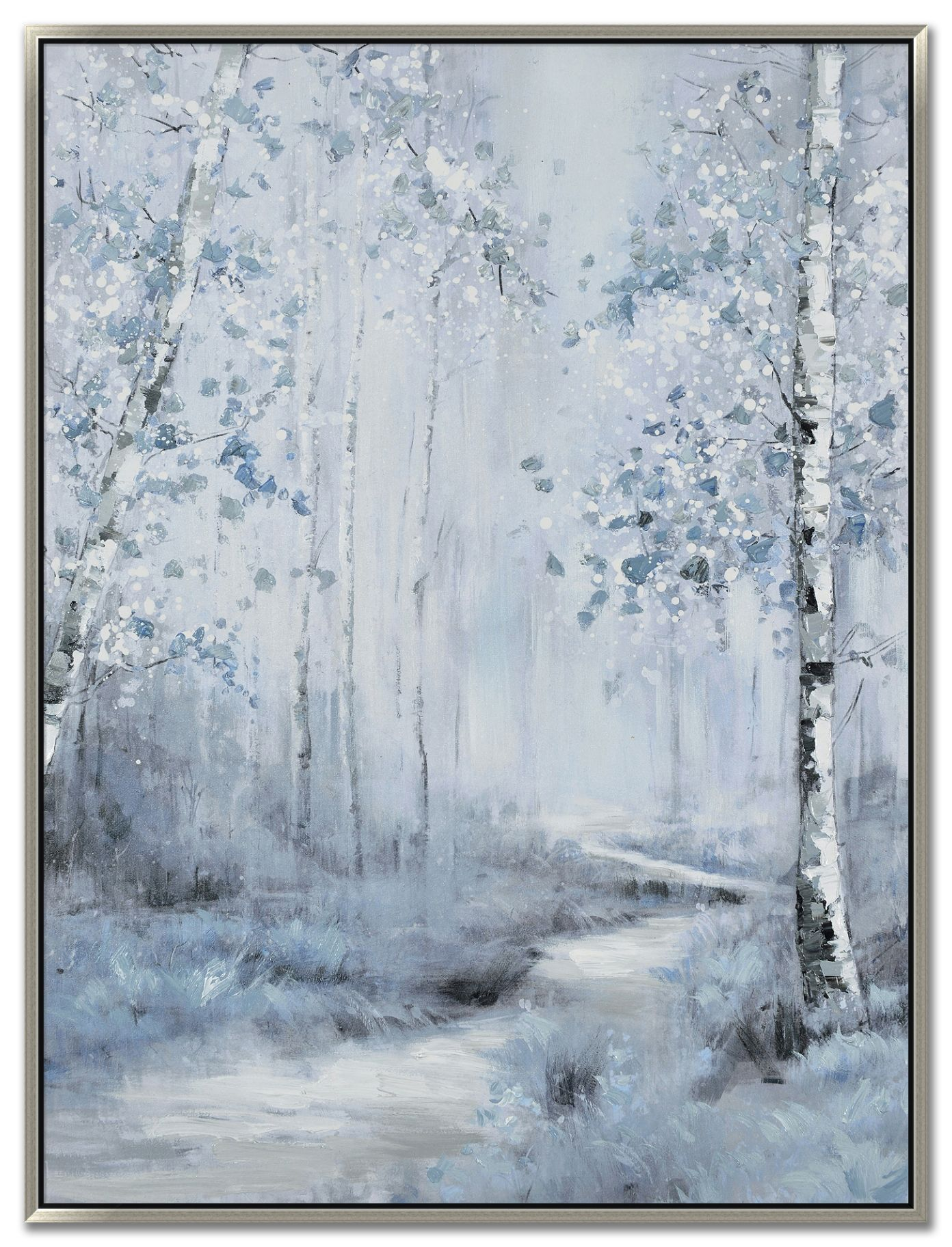 """36"""" x 48"""" Oil painting on gallery wrapped canvas with raised texture in a silver floating frame $299"""