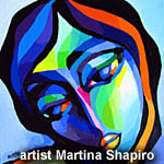 Blue Expression abstract painting of woman original fine art