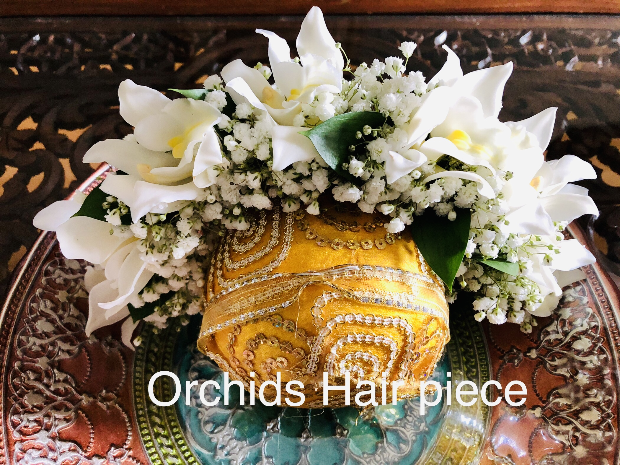 Hair Pc Orchids and Babys breath