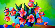 """<b>SOLD to FL, USA.<br> """"Tulips And Oranges""""<br> original oil on canvas painting</b><br> 18x 36inches"""