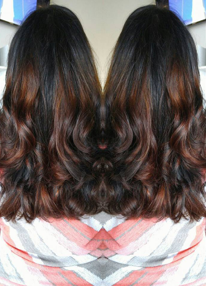 Brown and Auburn Balayage