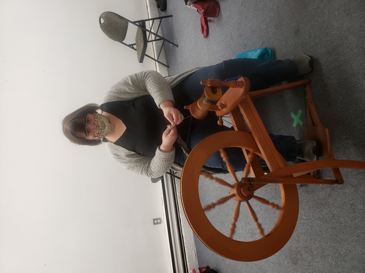 Lisa spinning on her Ashford Traditional.