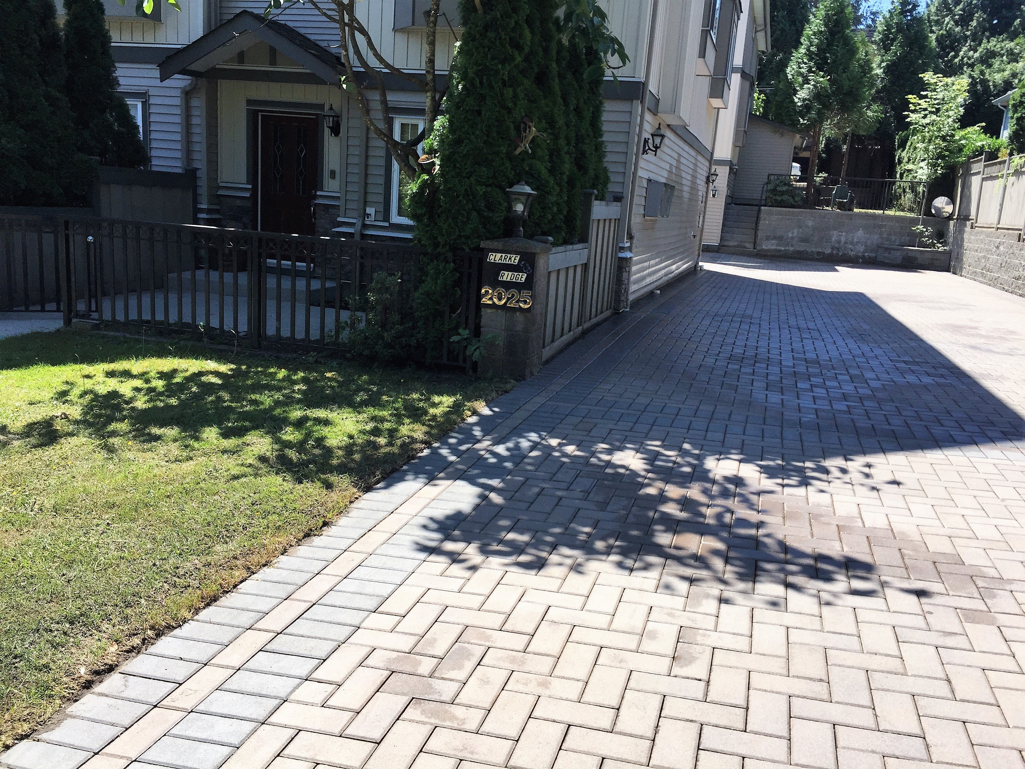 after brick driveway has been pressure washed