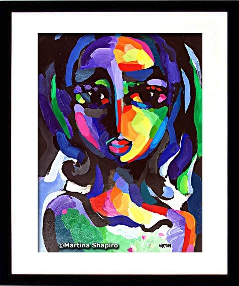 Girl On Purple painting in a frame - artist Martina Shapiro