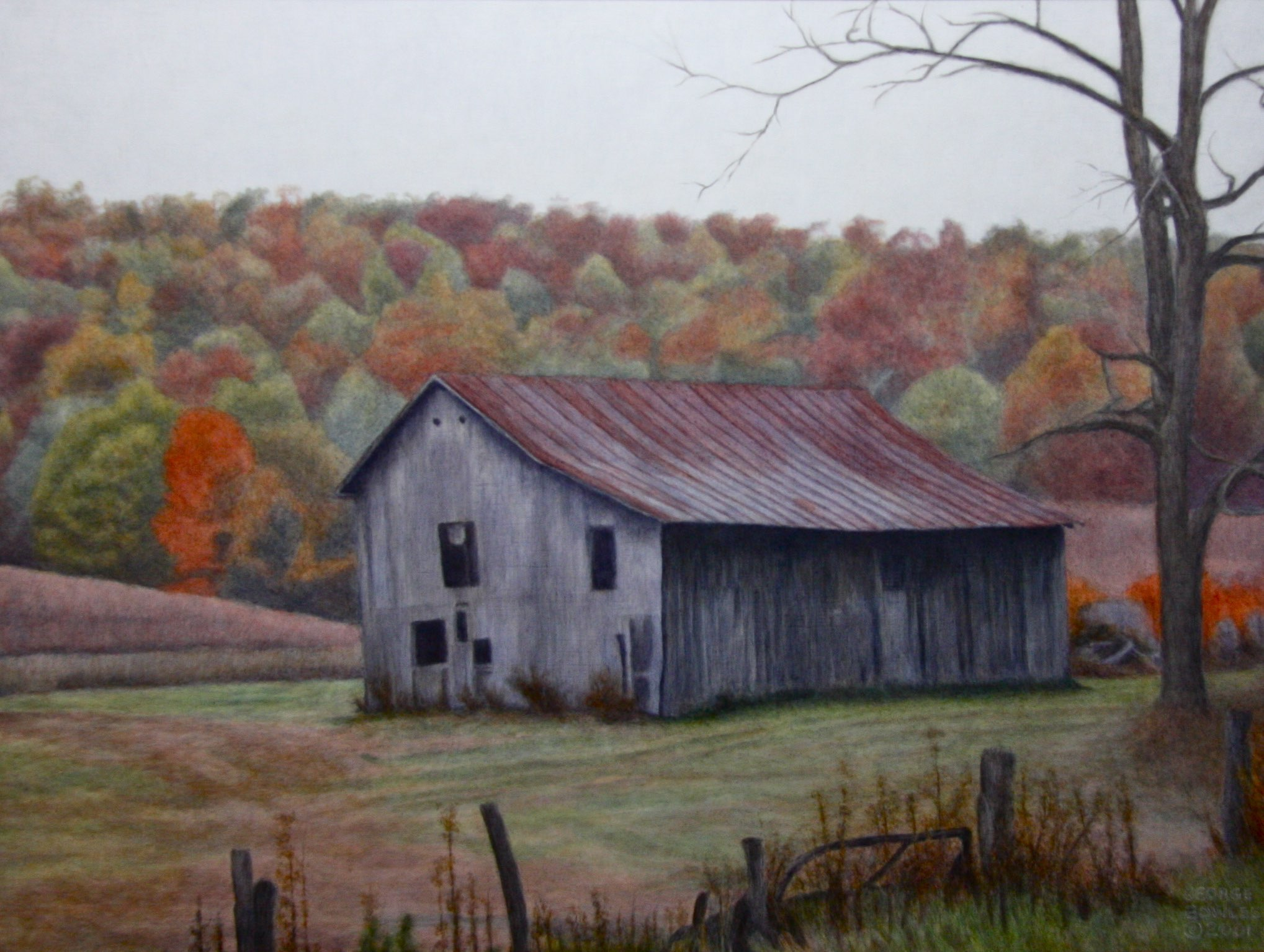 """Virginia Barn"" 18"" x 24"" Alkyd on hard board $ 2300"