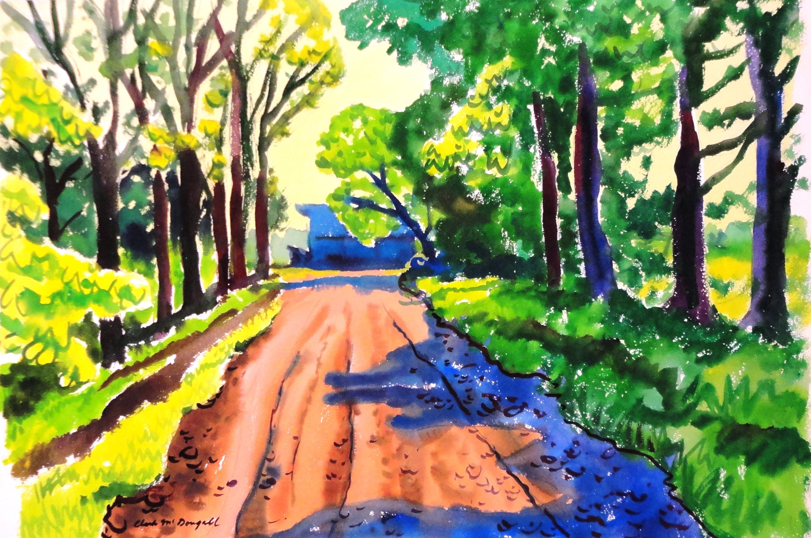 rural Road in the Summer, Watercolour on paper