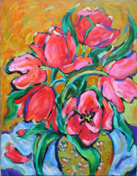 """<b>SOLD to California, USA.<br> """"Red Tulips"""", original oil <br> on canvas painting,</b> 22x28""""."""