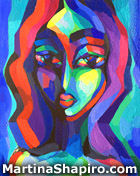 """Title: """"Woman In Blue and Purple"""" Medium: acrylic on canvas Size: 16x20 inches Price: US$600"""