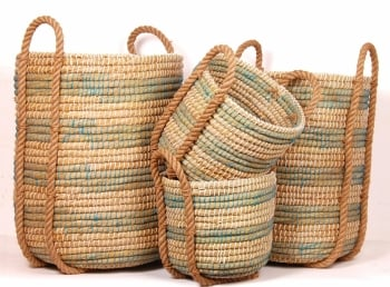 """Turquoise & White Coiled Grass Baskets Small 11""""d  x 11""""h -$39.99 Med 12""""d x 12""""h - $49.99 Large 15""""d x 22""""h - $69.99 XL  18""""d x 24""""h - $89.99 Extra Large 18""""d x 24""""h"""