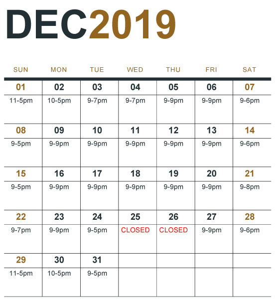 Click to view extended holiday hours