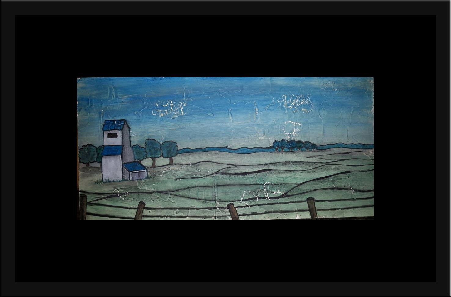 """When I Think of Home"" [2015] Mixed media on board. 13.5"" x 6.5"" (image). 22.5"" x 15.5"" (framed) SOLD"